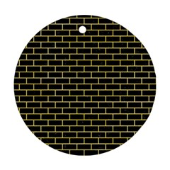 Brick1 Black Marble & Yellow Watercolor (r) Round Ornament (two Sides)