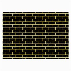 Brick1 Black Marble & Yellow Watercolor (r) Large Glasses Cloth (2 Side)