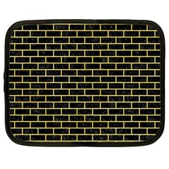 Brick1 Black Marble & Yellow Watercolor (r) Netbook Case (large)