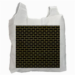 Brick1 Black Marble & Yellow Watercolor (r) Recycle Bag (two Side)
