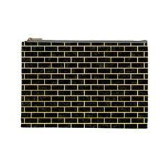 Brick1 Black Marble & Yellow Watercolor (r) Cosmetic Bag (large)
