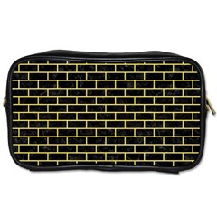 Brick1 Black Marble & Yellow Watercolor (r) Toiletries Bags