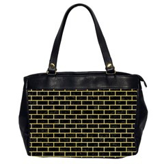Brick1 Black Marble & Yellow Watercolor (r) Office Handbags (2 Sides)