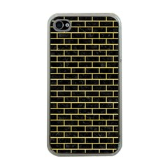 Brick1 Black Marble & Yellow Watercolor (r) Apple Iphone 4 Case (clear)