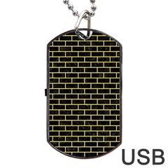 Brick1 Black Marble & Yellow Watercolor (r) Dog Tag Usb Flash (two Sides)