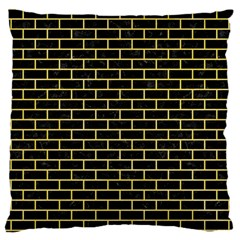 Brick1 Black Marble & Yellow Watercolor (r) Large Cushion Case (two Sides)