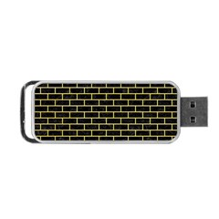 Brick1 Black Marble & Yellow Watercolor (r) Portable Usb Flash (two Sides)