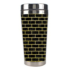 Brick1 Black Marble & Yellow Watercolor (r) Stainless Steel Travel Tumblers