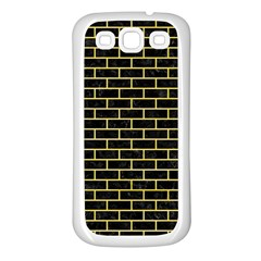 Brick1 Black Marble & Yellow Watercolor (r) Samsung Galaxy S3 Back Case (white)