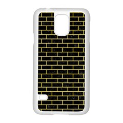 Brick1 Black Marble & Yellow Watercolor (r) Samsung Galaxy S5 Case (white)