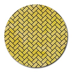 Brick2 Black Marble & Yellow Watercolor Round Mousepads