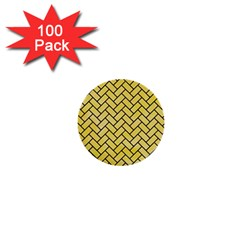 Brick2 Black Marble & Yellow Watercolor 1  Mini Buttons (100 Pack)