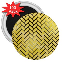 Brick2 Black Marble & Yellow Watercolor 3  Magnets (100 Pack)