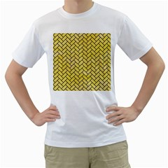 Brick2 Black Marble & Yellow Watercolor Men s T Shirt (white) (two Sided)