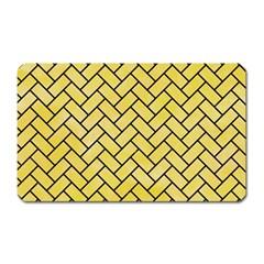 Brick2 Black Marble & Yellow Watercolor Magnet (rectangular)