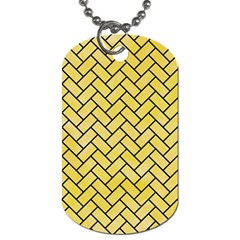 Brick2 Black Marble & Yellow Watercolor Dog Tag (one Side)