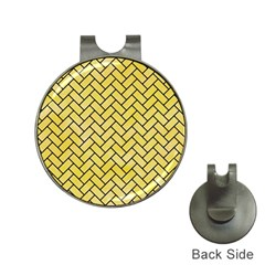Brick2 Black Marble & Yellow Watercolor Hat Clips With Golf Markers
