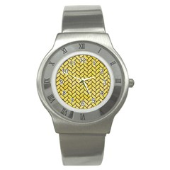 Brick2 Black Marble & Yellow Watercolor Stainless Steel Watch
