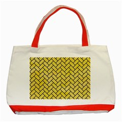 Brick2 Black Marble & Yellow Watercolor Classic Tote Bag (red)