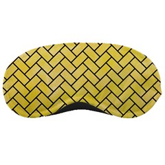 Brick2 Black Marble & Yellow Watercolor Sleeping Masks