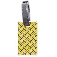 Brick2 Black Marble & Yellow Watercolor Luggage Tags (one Side)