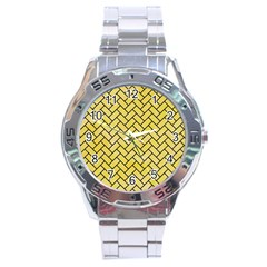 Brick2 Black Marble & Yellow Watercolor Stainless Steel Analogue Watch