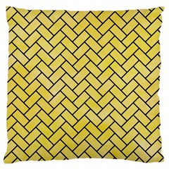 Brick2 Black Marble & Yellow Watercolor Large Cushion Case (one Side)