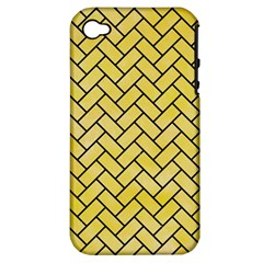 Brick2 Black Marble & Yellow Watercolor Apple Iphone 4/4s Hardshell Case (pc+silicone)