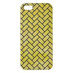 Brick2 Black Marble & Yellow Watercolor Iphone 5s/ Se Premium Hardshell Case