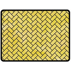 Brick2 Black Marble & Yellow Watercolor Double Sided Fleece Blanket (large)