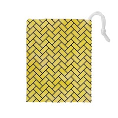 Brick2 Black Marble & Yellow Watercolor Drawstring Pouches (large)