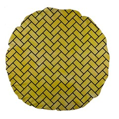 Brick2 Black Marble & Yellow Watercolor Large 18  Premium Flano Round Cushions