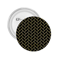 Brick2 Black Marble & Yellow Watercolor (r) 2 25  Buttons