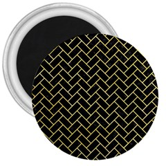 Brick2 Black Marble & Yellow Watercolor (r) 3  Magnets