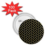 Brick2 Black Marble & Yellow Watercolor (r) 1 75  Buttons (100 Pack)