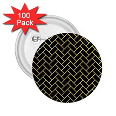 Brick2 Black Marble & Yellow Watercolor (r) 2 25  Buttons (100 Pack)