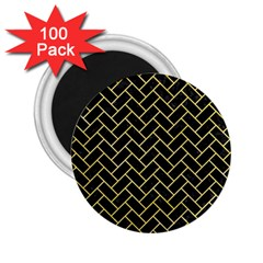 Brick2 Black Marble & Yellow Watercolor (r) 2 25  Magnets (100 Pack)