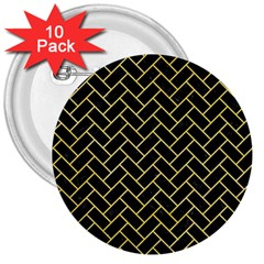 Brick2 Black Marble & Yellow Watercolor (r) 3  Buttons (10 Pack)