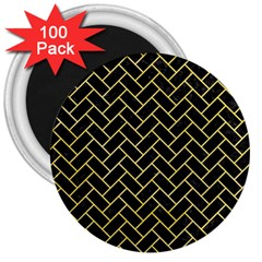 Brick2 Black Marble & Yellow Watercolor (r) 3  Magnets (100 Pack)
