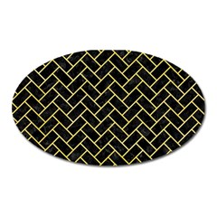 Brick2 Black Marble & Yellow Watercolor (r) Oval Magnet