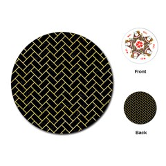 Brick2 Black Marble & Yellow Watercolor (r) Playing Cards (round)