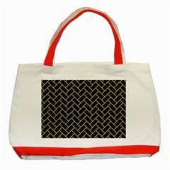 Brick2 Black Marble & Yellow Watercolor (r) Classic Tote Bag (red)