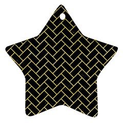 Brick2 Black Marble & Yellow Watercolor (r) Star Ornament (two Sides)