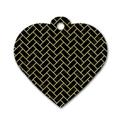Brick2 Black Marble & Yellow Watercolor (r) Dog Tag Heart (one Side)
