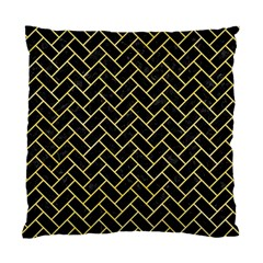 Brick2 Black Marble & Yellow Watercolor (r) Standard Cushion Case (two Sides)