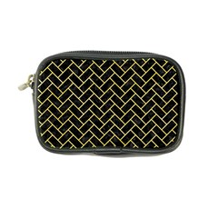 Brick2 Black Marble & Yellow Watercolor (r) Coin Purse