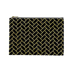 Brick2 Black Marble & Yellow Watercolor (r) Cosmetic Bag (large)