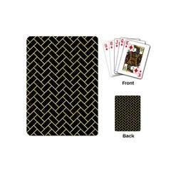 Brick2 Black Marble & Yellow Watercolor (r) Playing Cards (mini)
