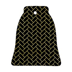 Brick2 Black Marble & Yellow Watercolor (r) Ornament (bell)