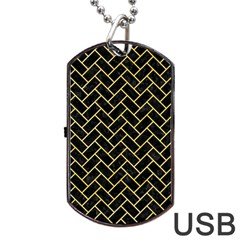 Brick2 Black Marble & Yellow Watercolor (r) Dog Tag Usb Flash (one Side)